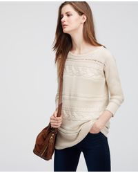 Ann Taylor - Natural Petite Mixed Stitch Sweater - Lyst