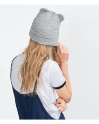Zara | Gray Knit Hat With Ears | Lyst