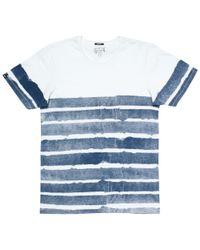 Denham Blue Paper Stripe Crew Neck T-shirt for men