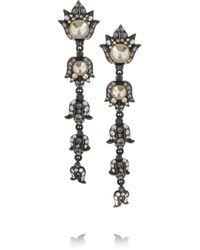 Lanvin - Metallic Blanche Gunmetal-Tone Swarovski Crystal Clip Earrings - Lyst