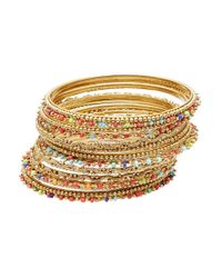 R.j. Graziano | Metallic Beaded Bangle Bracelet Set | Lyst