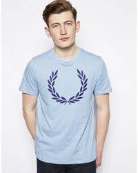 Fred Perry Blue Tshirt Large Laurel Wreath Logo for men
