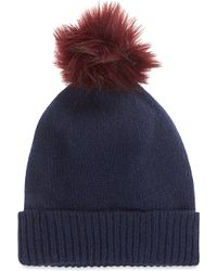 Helen Moore | Blue Pompom Cashmere Beanie Hat | Lyst
