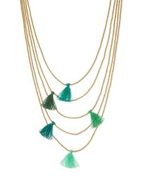 Nakamol | Green Multi-strand Beaded Tassel Necklace | Lyst