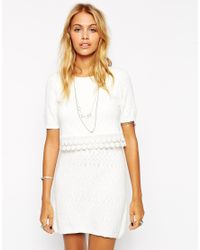 ASOS | White Double Layer Skater Dress With Crochet Detail | Lyst
