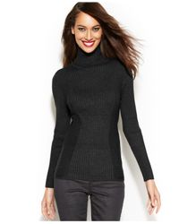 INC International Concepts Black Ribbed-Knit Turtleneck Sweater