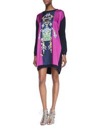 Mary Katrantzou - Blue Tiki Printed Knit Shift Dress - Lyst
