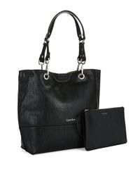 Calvin Klein | Black Keyla Leather Medium Tote Bag | Lyst