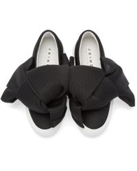 Joshua Sanders Black Bow Mesh Slip-On Sneakers