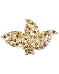 Jones New York - Metallic Gold-Tone Green And Topaz-Colored Bead Leaves Pin - Lyst