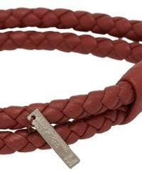 Bottega Veneta Red Woven Leather Double-Band Bracelet for men