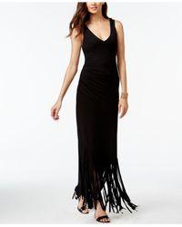 INC International Concepts Black Petite Asymmetrical Fringe Maxi Dress, Only At Macy's