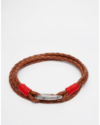 Ted Baker | Brown Plaited Wrap Leather Bracelet for Men | Lyst