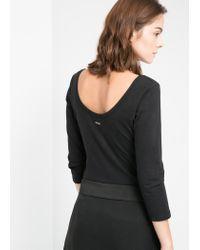 Mango - Black Scoop Back T-Shirt - Lyst