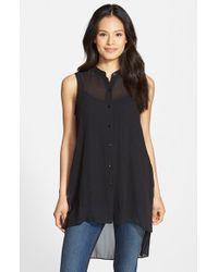 Eileen Fisher Black Mandarin Collar Silk Tunic