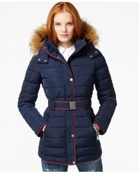 Tommy Hilfiger | Blue Faux-fur-trim Belted Puffer Coat | Lyst