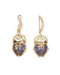 Aurelie Bidermann - Blue Beetle Diamond, Sapphire & Gold Earrings - Lyst