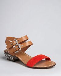 Dolce Vita Brown Dv Two Tone Ankle Strap Sandals Lira Low Heel