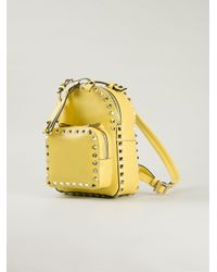Valentino - Yellow 'Rockstud' Backpack - Lyst