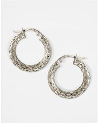 Lord & Taylor | 14k White Gold Textured Small Hoop Earrings | Lyst