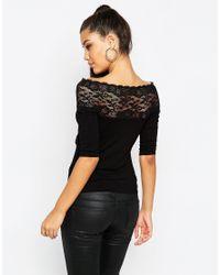 ASOS - Black Off Shoulder Top With Wrap Lace Trim - Lyst