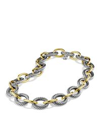 """David Yurman Metallic Oval Extra-large Link Necklace With Gold, 17"""""""