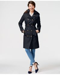 London Fog | Blue Double-breasted Hooded Trench Coat | Lyst