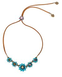Betsey Johnson | Blue Turquoise Floral Necklace | Lyst