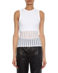 T By Alexander Wang White Circular-hole Jersey Tank Top