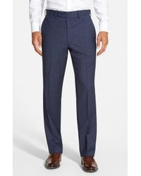 JB Britches | Blue 'torino' Flat Front Check Trousers for Men | Lyst