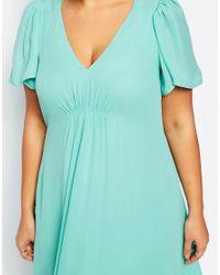 ASOS | Blue Curve Wedding Maxi Dress With Flutter Sleeve | Lyst