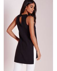 Missguided - Asymmetric Longline Tunic Black - Lyst