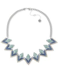 French Connection - Blue Silver-Tone Frontal Necklace - Lyst