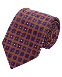 Isaia Orange Floral Seven-fold Necktie for men