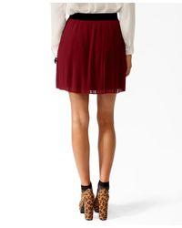 Forever 21 - Purple Pleated Contrast Waist Skirt - Lyst