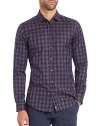 Strellson - Brown Check Cotton Sportshirt for Men - Lyst