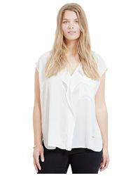 Violeta by Mango | Natural Plus Size Ruffled Blouse | Lyst