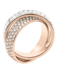 Michael Kors - Metallic Rose Goldtone Pave Intertwined Ring - Lyst