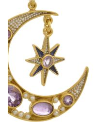 Percossi Papi Purple Diego Sun and Moon Goldplated Amethyst Earrings