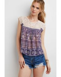 Forever 21 | Purple Grid Crochet-paneled Paisley Top | Lyst