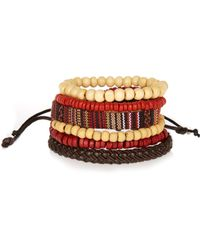 River Island - Red Rustic Beaded Bracelets Pack for Men - Lyst