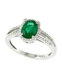 Effy | Green Brasilica 14kt. White Gold Emerald And Diamond Ring | Lyst