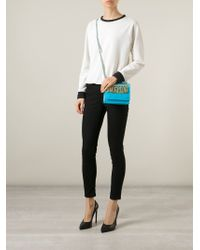 Moschino | Blue Logo-Chain Calf-Leather Cross-Body Bag | Lyst