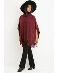 Forever 21 Purple Plus Size Tasseled Funnel Neck Poncho