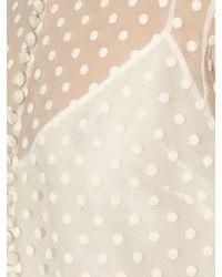 Rochas White Polka-dot Ruffle-trimmed Collar Dress