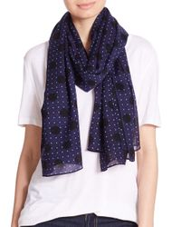 Rag & Bone | Blue Beatrice Dotted Wool Scarf | Lyst