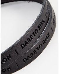 Royal Republiq - Black Philosophy Leather Wrap Bracelet for Men - Lyst