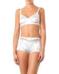 Dolce & Gabbana White Stretch-Satin Soft-Cup Bra