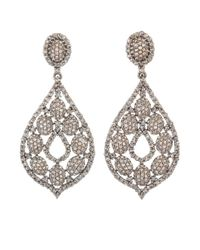 Bavna - Metallic Sterling Silver Earrings With Pave & Gray Rose Cut Diamonds - Lyst