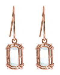 Suzanne Kalan - Pink Rose Gold Barrel Green Envy Topaz Drop Earrings - Lyst